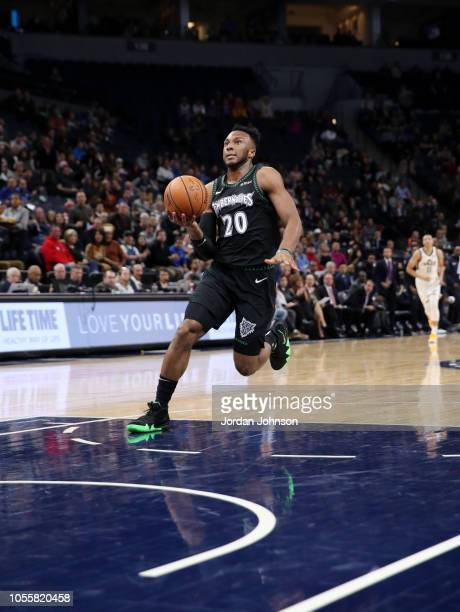 Josh Okogie of the Minnesota Timberwolves drives to the basket against the Utah Jazz on October 31 2018 at Target Center in Minneapolis Minnesota...
