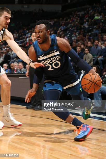 Josh Okogie of the Minnesota Timberwolves drives to the basket against the Denver Nuggets on January 20, 2020 at Target Center in Minneapolis,...