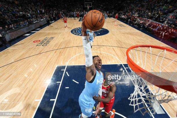 Josh Okogie of the Minnesota Timberwolves dunks the ball against the Houston Rockets on January 24, 2020 at Target Center in Minneapolis, Minnesota....