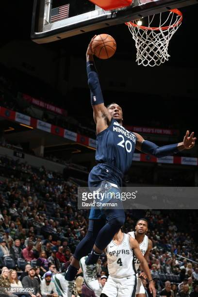 Josh Okogie of the Minnesota Timberwolves dunks the ball during a game against the San Antonio Spurs on November 13, 2019 at Target Center in...