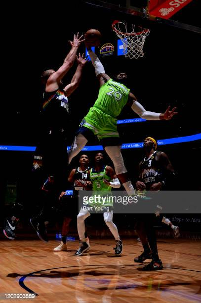 Josh Okogie of the Minnesota Timberwolves dunks the ball during the game against the Denver Nuggets on February 23, 2020 at the Pepsi Center in...