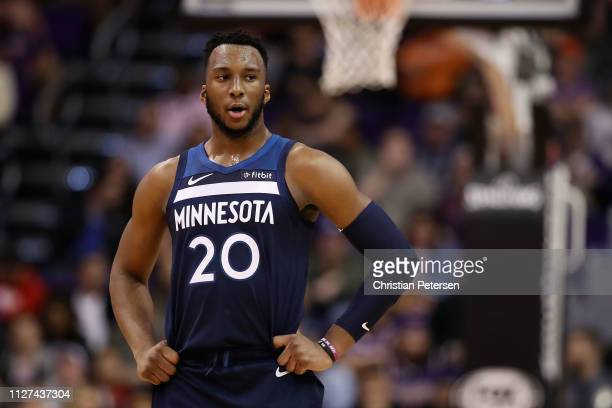 Josh Okogie of the Minnesota Timberwolves during the first half of the NBA game against the Phoenix Suns at Talking Stick Resort Arena on January 22,...