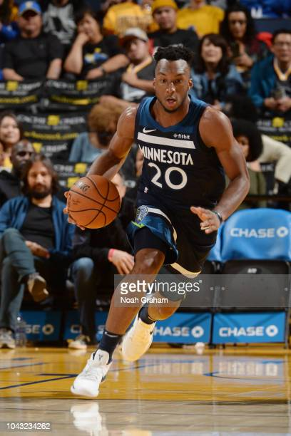 Josh Okogie of the Minnesota Timberwolves handles the ball against the the Golden State Warriors during a pre-season game on September 29, 2018 at...