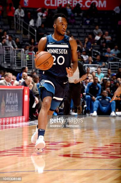 Josh Okogie of the Minnesota Timberwolves handles the ball against the LA Clippers during a preseason game on October 3 2018 at Staples Center in Los...