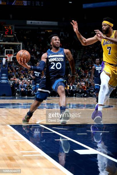 Josh Okogie of the Minnesota Timberwolves handles the ball against the Los Angeles Lakers on October 29 2018 at Target Center in Minneapolis...