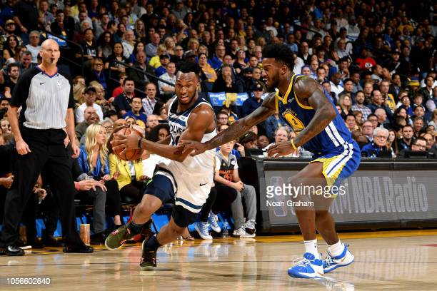 Josh Okogie of the Minnesota Timberwolves handles the ball against the Golden State Warriors on November 2 2018 at ORACLE Arena in Oakland California...