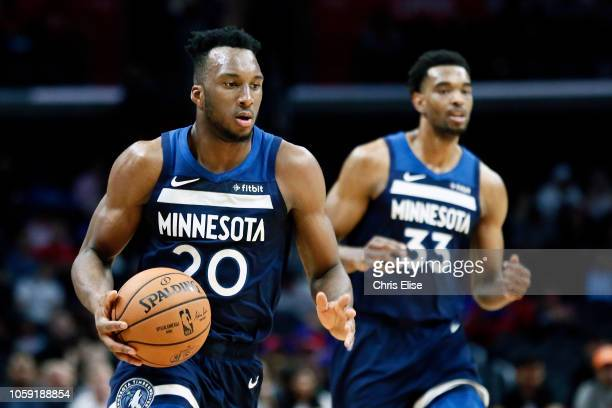 Josh Okogie of the Minnesota Timberwolves handles the ball against the LA Clippers on October 3 2018 at STAPLES Center in Los Angeles California NOTE...