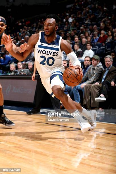 Josh Okogie of the Minnesota Timberwolves handles the ball against the Brooklyn Nets on November 12, 2018 at Target Center in Minneapolis, Minnesota....