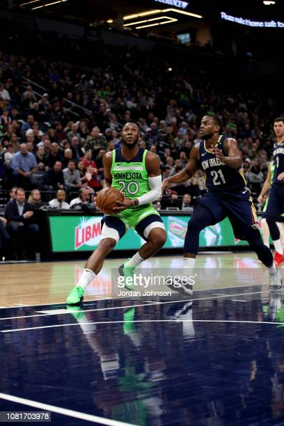 Josh Okogie of the Minnesota Timberwolves handles the ball against the New Orleans Pelicans on January 12, 2019 at Target Center in Minneapolis,...