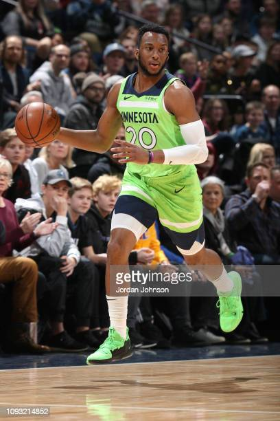 Josh Okogie of the Minnesota Timberwolves handles the ball against the Denver Nuggets on February 2, 2019 at Target Center in Minneapolis, Minnesota....
