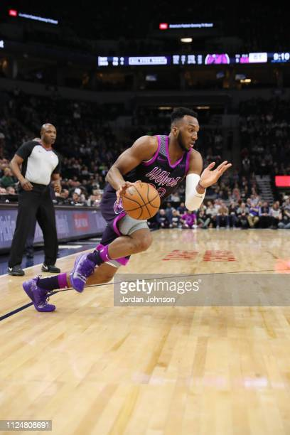 Josh Okogie of the Minnesota Timberwolves handles the ball against the Houston Rockets on February 13, 2019 at Target Center in Minneapolis,...