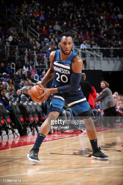 Josh Okogie of the Minnesota Timberwolves handles the ball against the Detroit Pistons on March 6, 2019 at Little Caesars Arena in Detroit, Michigan....