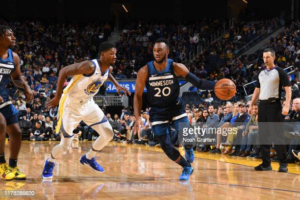 Josh Okogie of the Minnesota Timberwolves handles the ball against the Golden State Warriors during a preseason game on October 10 2019 at Chase...