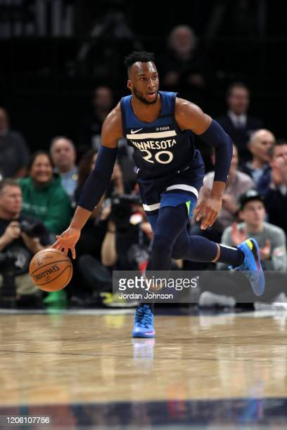 Josh Okogie of the Minnesota Timberwolves handles the ball against the New Orleans Pelicans on March 8, 2020 at Target Center in Minneapolis,...