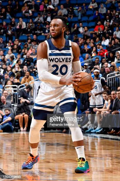 Josh Okogie of the Minnesota Timberwolves handles the ball during the game against the Orlando Magic on February 28, 2020 at Amway Center in Orlando,...
