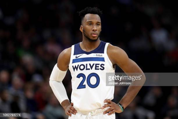 Josh Okogie of the Minnesota Timberwolves looks on during a game against the Indiana Pacers on October 22, 2018 at Target Center in Minneapolis,...