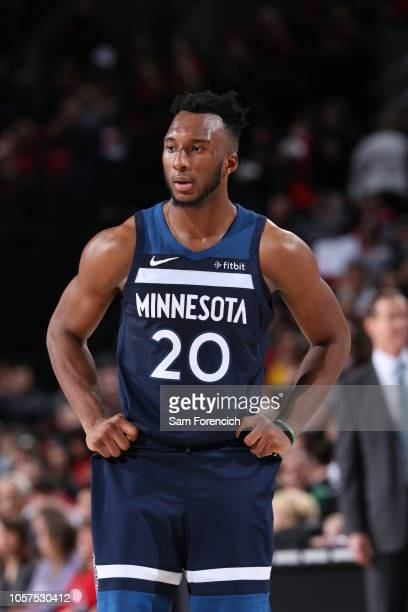 Josh Okogie of the Minnesota Timberwolves looks on during the game against the Portland Trail Blazers on November 4, 2018 at the Moda Center in...