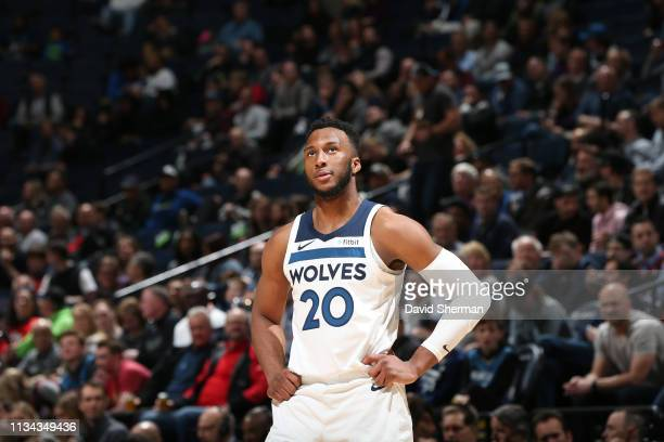 Josh Okogie of the Minnesota Timberwolves looks on during the game against the Portland Trail Blazers on April 1, 2019 at Target Center in...