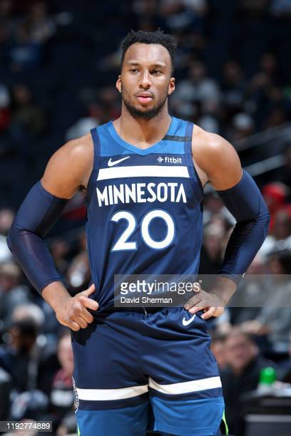 Josh Okogie of the Minnesota Timberwolves looks on during the game against the Portland Trail Blazers on January 9, 2020 at Target Center in...
