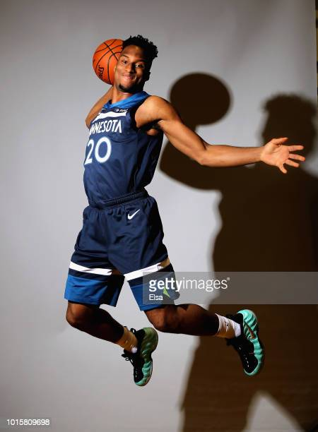 Josh Okogie of the Minnesota Timberwolves poses for a portrait during the 2018 NBA Rookie Photo Shoot at MSG Training Center on August 12 2018 in...