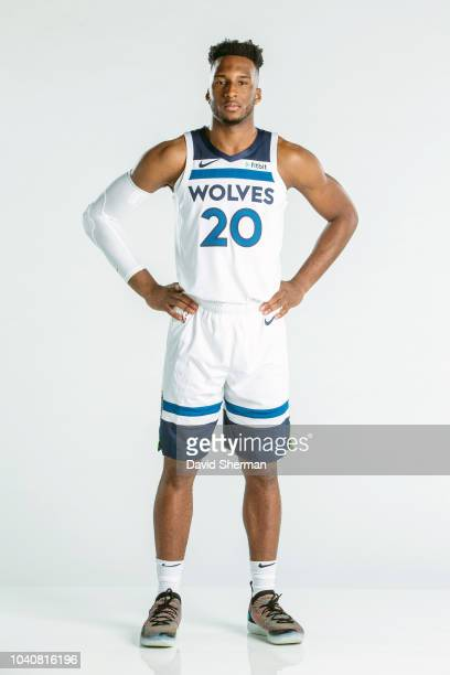 Josh Okogie of the Minnesota Timberwolves poses for a portrait during the 2018 Media Day on September 24, 2018 at Target Center in Minneapolis,...