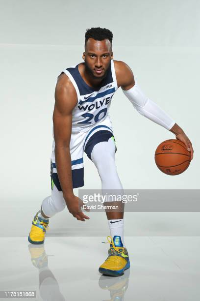 Josh Okogie of the Minnesota Timberwolves poses for a portrait during Media Day on September 30, 2019 at Target Center in Minneapolis, Minnesota....