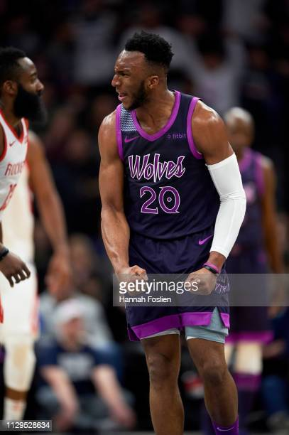 Josh Okogie of the Minnesota Timberwolves reacts during the game against the Houston Rockets on February 13, 2019 at the Target Center in...