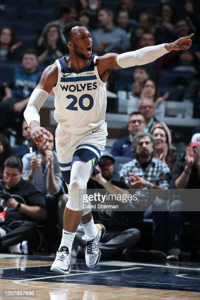 Josh Okogie of the Minnesota Timberwolves reacts to play during the game on March 04, 2020 at Target Center in Minneapolis, Minnesota. NOTE TO USER:...