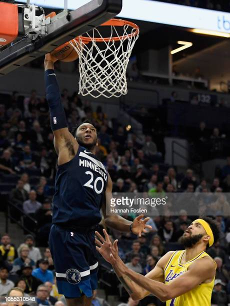 Josh Okogie of the Minnesota Timberwolves shoots the ball against JaVale McGee of the Los Angeles Lakers during the third quarter of the game on...