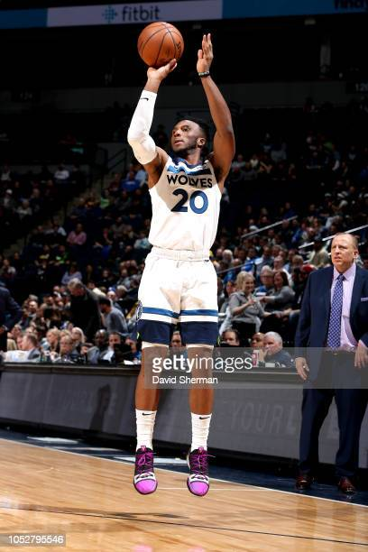 Josh Okogie of the Minnesota Timberwolves shoots the ball against the Indiana Pacers on October 22 2018 at Target Center in Minneapolis Minnesota...