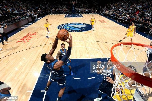 Josh Okogie of the Minnesota Timberwolves shoots the ball against the Los Angeles Lakers on October 29 2018 at Target Center in Minneapolis Minnesota...