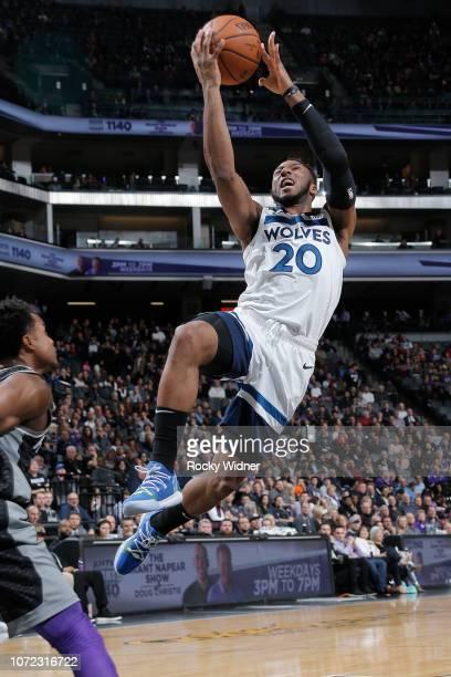 Josh Okogie of the Minnesota Timberwolves shoots the ball against the Sacramento Kings on December 12, 2018 at Golden 1 Center in Sacramento,...