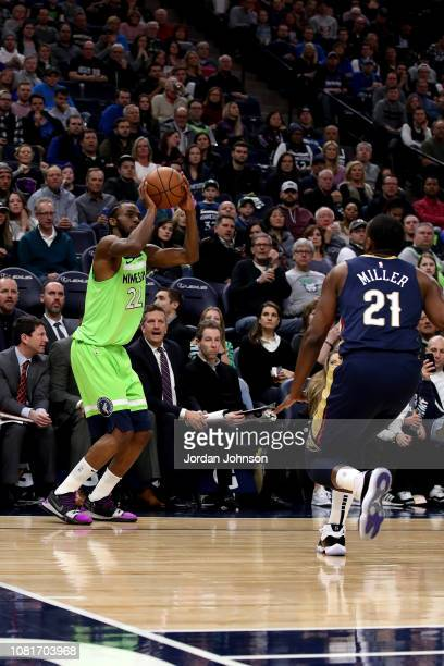 Josh Okogie of the Minnesota Timberwolves shoots the ball against the New Orleans Pelicans on January 12 2019 at Target Center in Minneapolis...