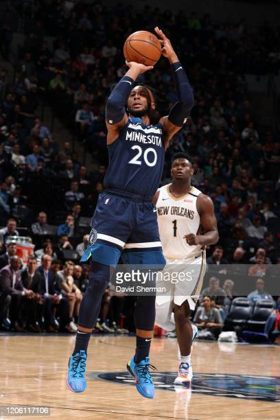 Josh Okogie of the Minnesota Timberwolves shoots the ball against the New Orleans Pelicans on March 8, 2020 at Target Center in Minneapolis,...