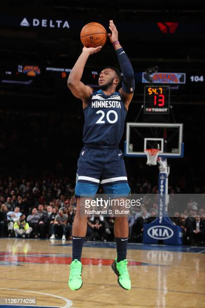 Josh Okogie of the Minnesota Timberwolves shoots the ball during the game against the New York Knicks on February 22, 2019 at Madison Square Garden...