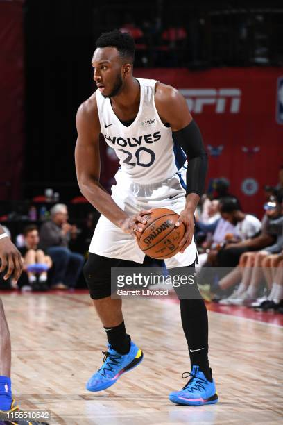 Josh Okogie of the Minnesotta Timberwolves handles the ball against the Dallas Mavericks during Day 9 of the 2019 Las Vegas Summer League on July 13...