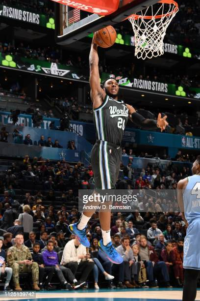 Josh Okogie of the World Team dunks the ball against the U.S. Team during the 2019 Mtn Dew ICE Rising Stars Game on February 15, 2019 at the Spectrum...