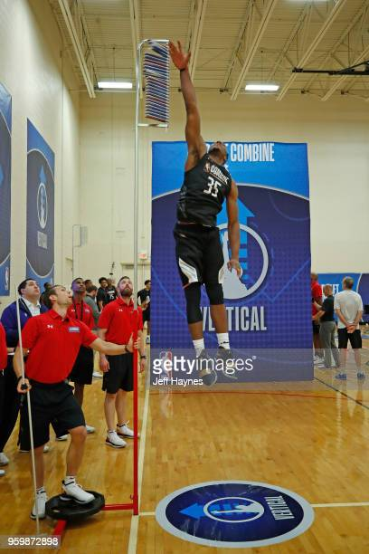 Josh Okogie participates in the vertical jump during the NBA Draft Combine Day 1 at the Quest Multisport Center on May 17 2018 in Chicago Illinois...