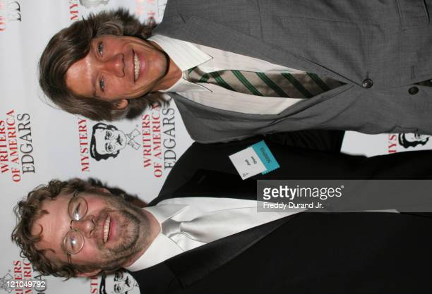 Josh Olsen with Stephen Gaghan during Mystery Writers of America present the 60th Annual Edgar Awards at Grand Hyatt Hotel in New York NY United...