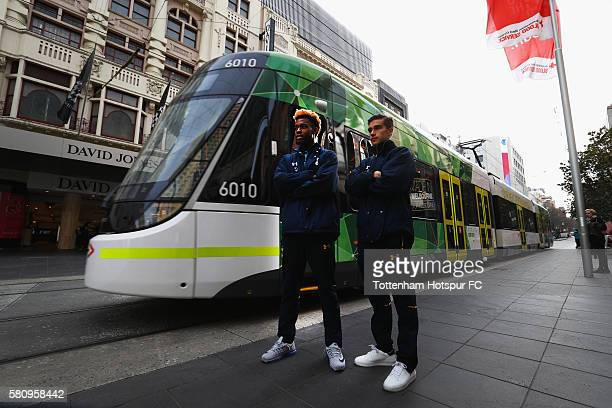 Josh Onomah and Harry Winks of Tottenham Hotspur pose in Bourke St Mall after the unveilling of a Mural of a Spurs goal celebration in Union Lane on...
