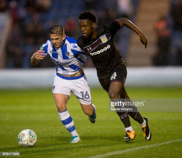 Josh Onomah of Aston Villa during the Carabao Cup First Round match between Colchester United and Aston Villa at the Colchester Community Stadium on...