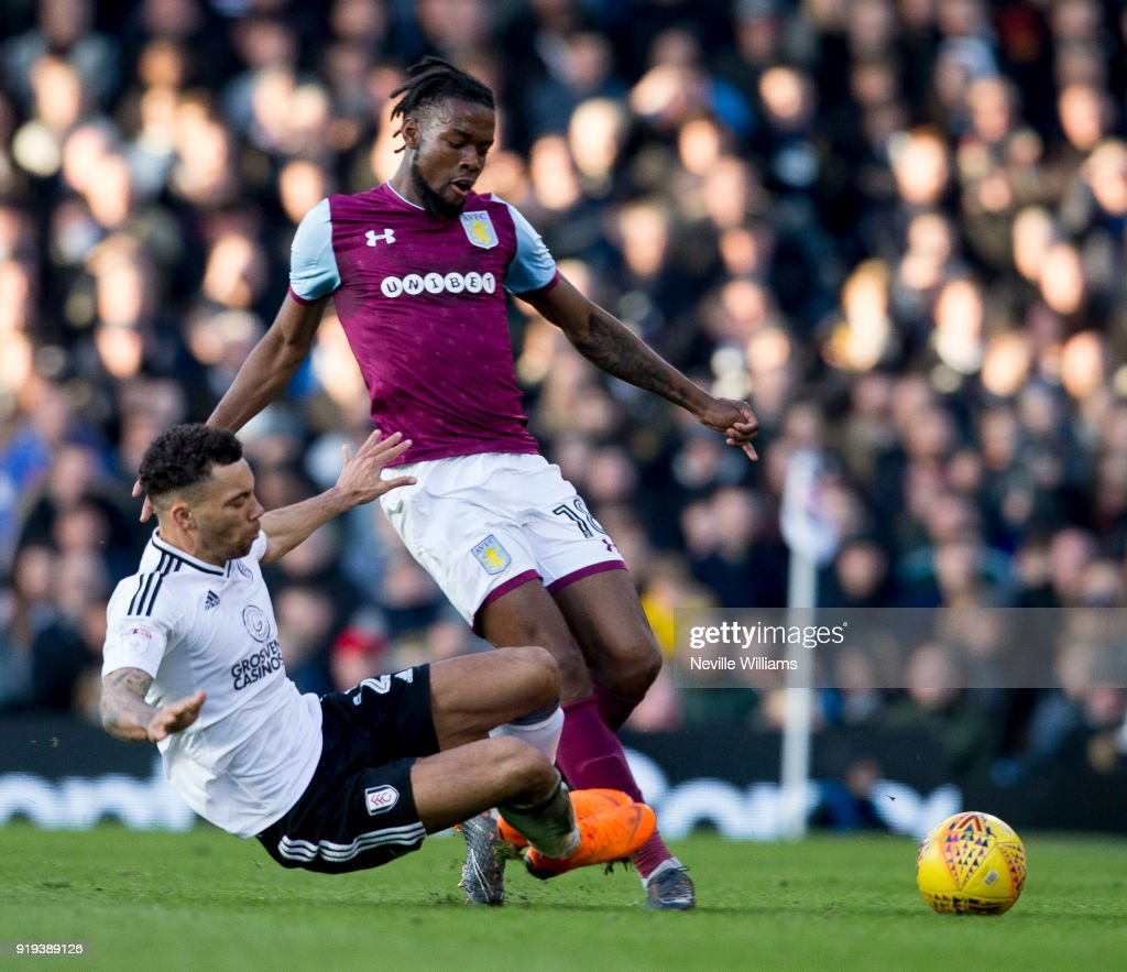 Josh Onomah of Aston Villa during the Sky Bet Championship match between Fulham and Aston Villa at Craven Cottage on February 17, 2018 in London, England.