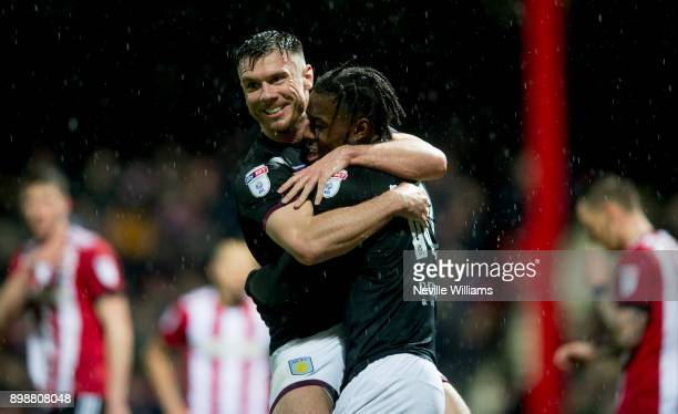 Josh Onomah of Aston Villa scores for Aston Villa during the Sky Bet Championship match between Brentford and Aston Villa at Griffin Park on December...