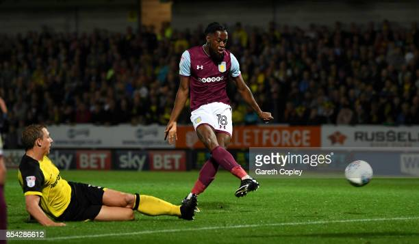 Josh Onomah of Aston Villa scores his team's 4th goal during the Sky Bet Championship match between Burton Albion and Aston Villa at Pirelli Stadium...