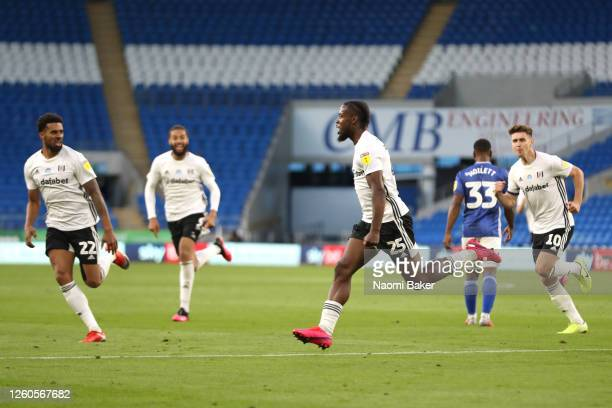 Josh Onomah of Fulham runs off to celebrate after scoring his teams first goal during the Sky Bet Championship Play Off Semi-final 1st Leg match...