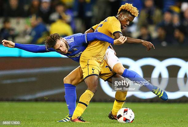Josh Onomah of Tottenham Hotspur and Yoan Severin of Juventus FC compete for the ball during the 2016 International Champions Cup match between...