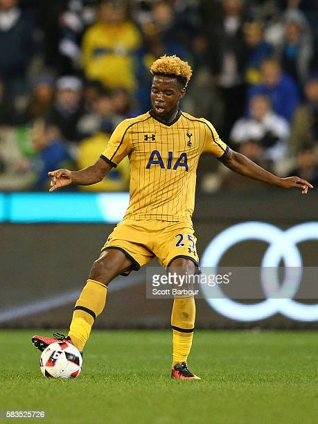 Josh Onomah of Tottenham Hotspur competes for the ball during the 2016 International Champions Cup match between Juventus FC and Tottenham Hotspur at...