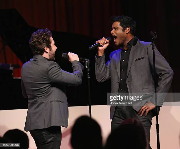 Josh Page and Sean Panikkar of Forte Tenors perform at the Prostate Cancer Foundation Invites You To The 2015 New York Dinner With Celebrity Hosts...
