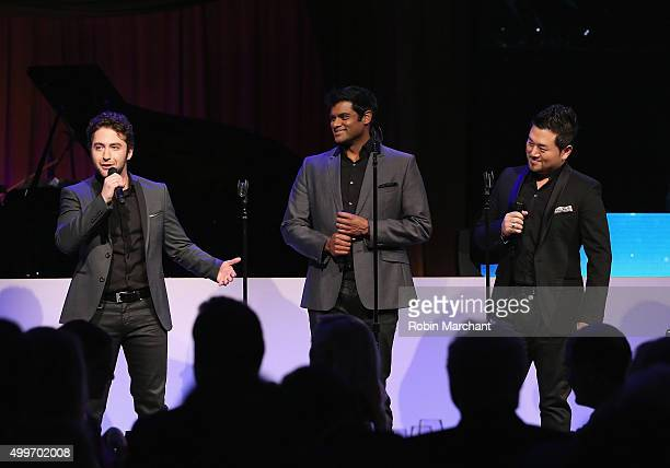 Josh Page Sean Panikkar and Hana Ryu of Forte Tenors perform at the Prostate Cancer Foundation Invites You To The 2015 New York Dinner With Celebrity...
