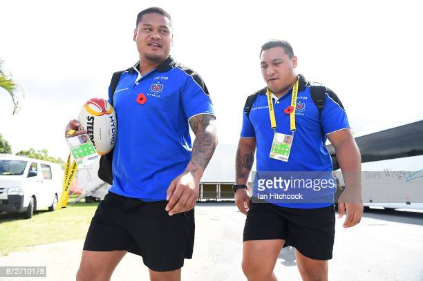 Josh Papalii and Joseph Leilua of Samoa arrive at the ground before the start of the 2017 Rugby League World Cup match between Samoa and Scotland at...